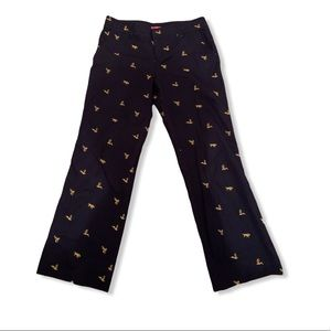 Lilly Pulitzer navy bee embroidered trousers 10